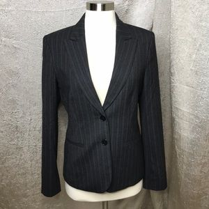 Theory Charcoal Wool Blend Striped Blazer Size 8